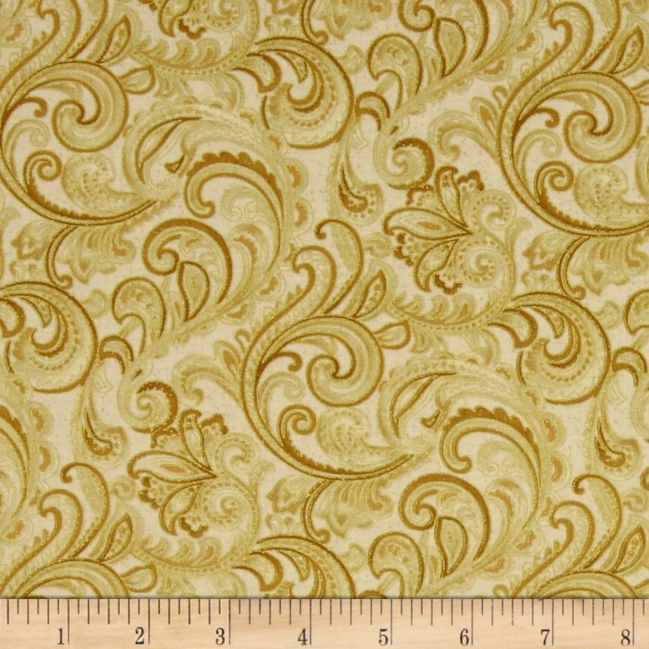 Chickadees and Berries Metallic Golden Scroll Cream/Gold