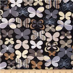 Kanvas Camo Mix Camo Butterfly Black/Grey Fabric