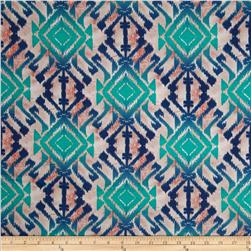Cotton Spandex Jersey Knit Tribal Print Blue/Green/Cream