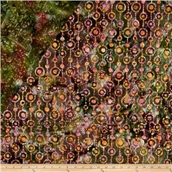 Indian Batik Double Face Quilted Circles Pink Orange Green
