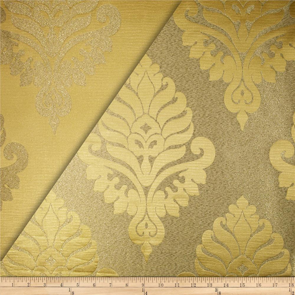 World Wide Rowley Metallic Damask Satin Jacquard Butter