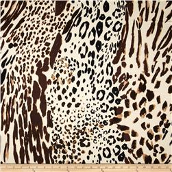 Stretch Satin Twill Animal Print Cream/Brown