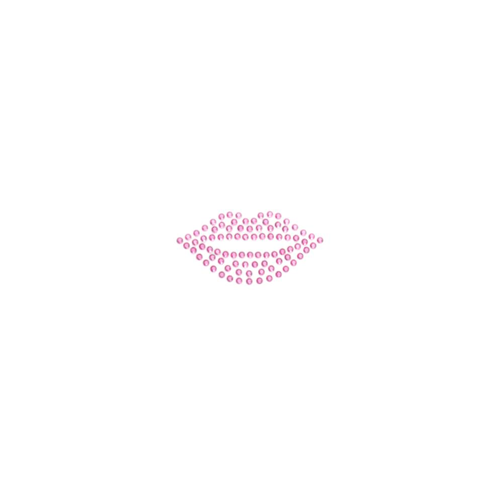 Lips Rhinestud Applique Dark Pink