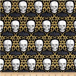 Timeless Treasures Hocus Pocus Skull Scroll Black