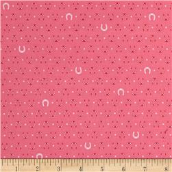 Kaufman Tiny Happy Lucky Horseshoes Coral