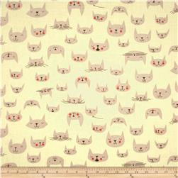 Cat Nap Cattitude Cream Fabric