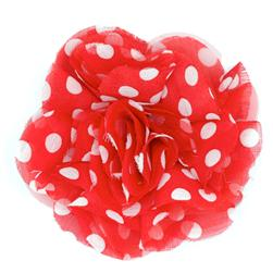 Capri Polka Dot 4 1/2'' Brooch Red/White