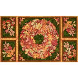 Fall Colors Panel Autumn Wreath Orange/Brown