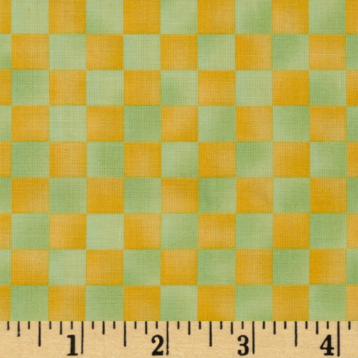 Graphix Checkered Yellow Green Fabric