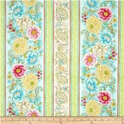 Timeless Treasures Love Floral Stripe Multi