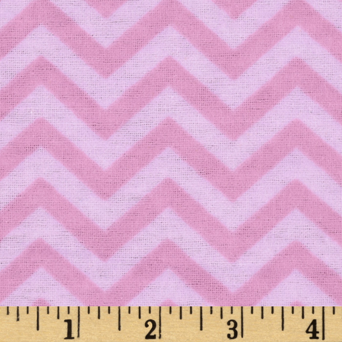 Little Nursery Flannel Chevron Tonal Pink Fabric