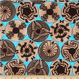 Timeless Treasures Southwest Basket Circles Turquoise Fabric