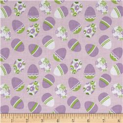 Riley Blake Holiday Banners Easter Eggs Purple Fabric