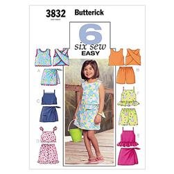 Butterick Children's/Girls' Top, Skort and Shorts Pattern B3832 Size 020