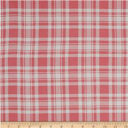 Rayon Challis Plaid Fuchsia/White