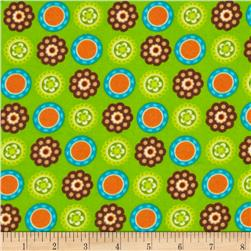 Owl Wonderful Flannel Medallions Green