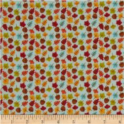 Riley Blake Happy Harvest Flannel Acorns Blue Fabric