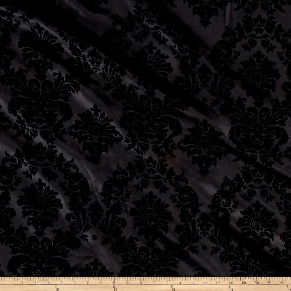 Flocked Damask Taffetta Black
