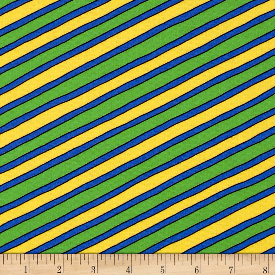 Moda Beary Happy Birthday Stripe Green/Yellow