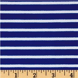 Liverpool Double Knit Horizontal Stripe Royal/White