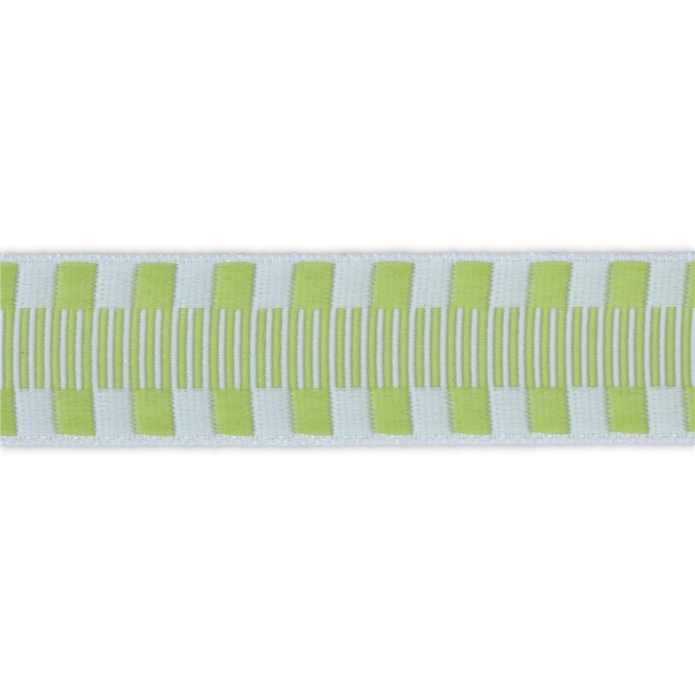 1'' Jacquard Ribbon Check Stripes Celery/White