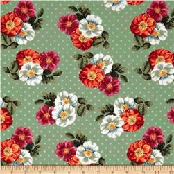 Garden View Tossed Bunched Florals Green
