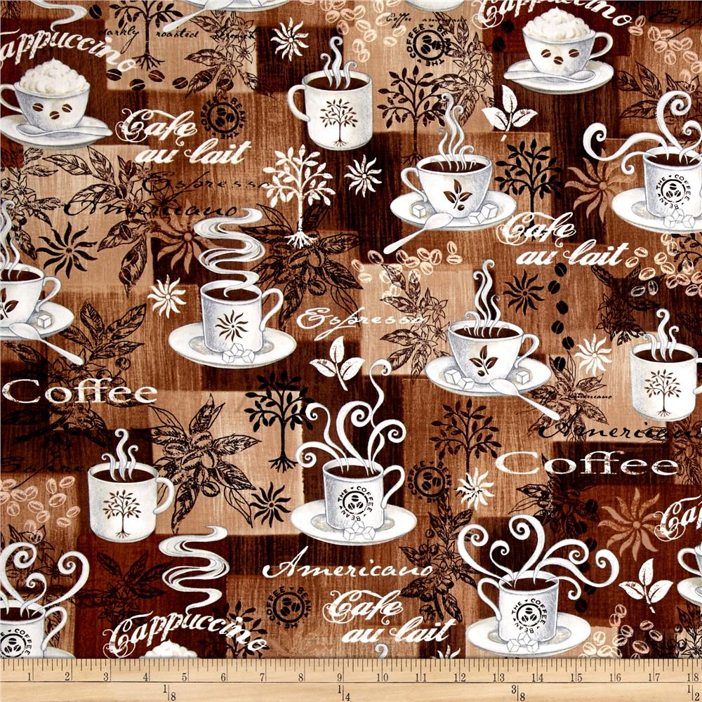 Timeless Treasures Coffee Patchwork Coffee
