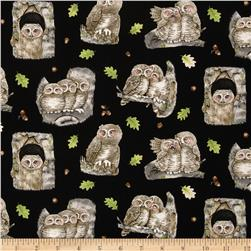 Hoo's Tree Owls In Tree Black Fabric