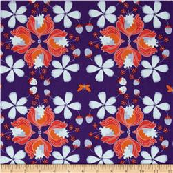 Hot House Flowers Floral Allover Purple Fabric