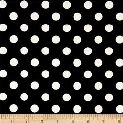 Cotton Denim Polka Dots Print Black/White