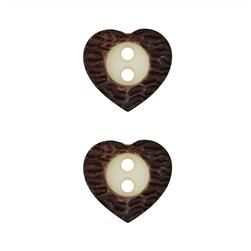 Dill Novelty Button 5/8'' Faux Metal Heart Brown