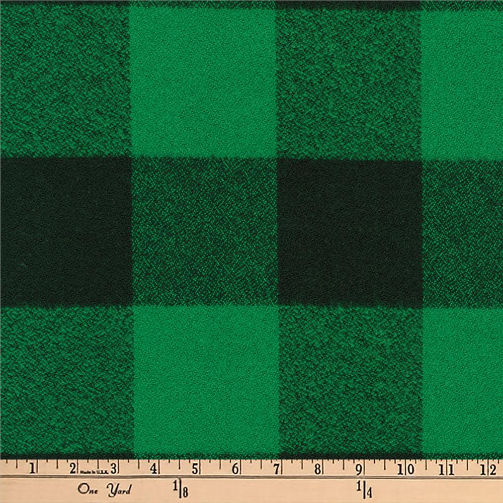 Kaufman mammoth flannel buffalo check large green for Flannel fabric