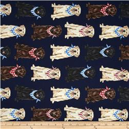 Timeless Treasures Patriotic Dogs Labradors Navy
