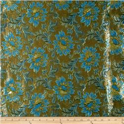 Metallic Brocade Flowers and Stems Gold/Blue