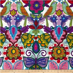 Folklorico Querida Flowers, Birds, & Butterflies White/Multi