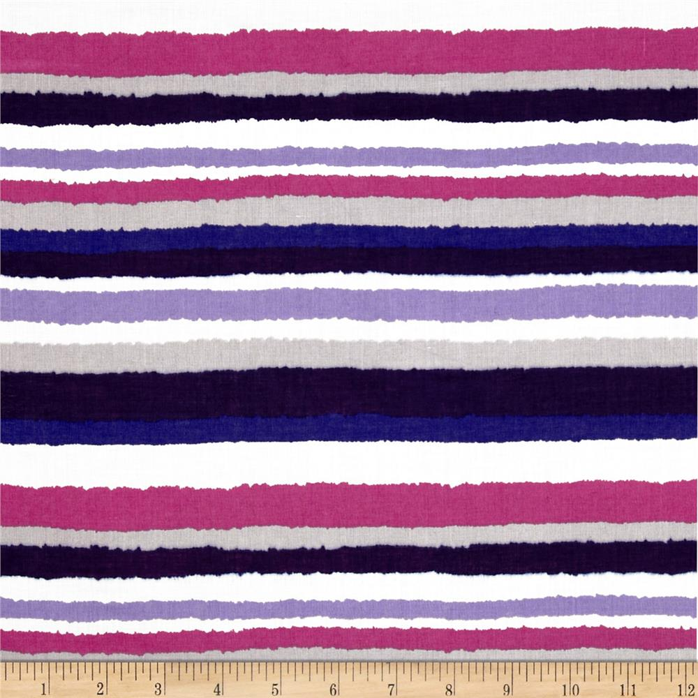 Cotton Lawn Haze Stripe Blue/Pink