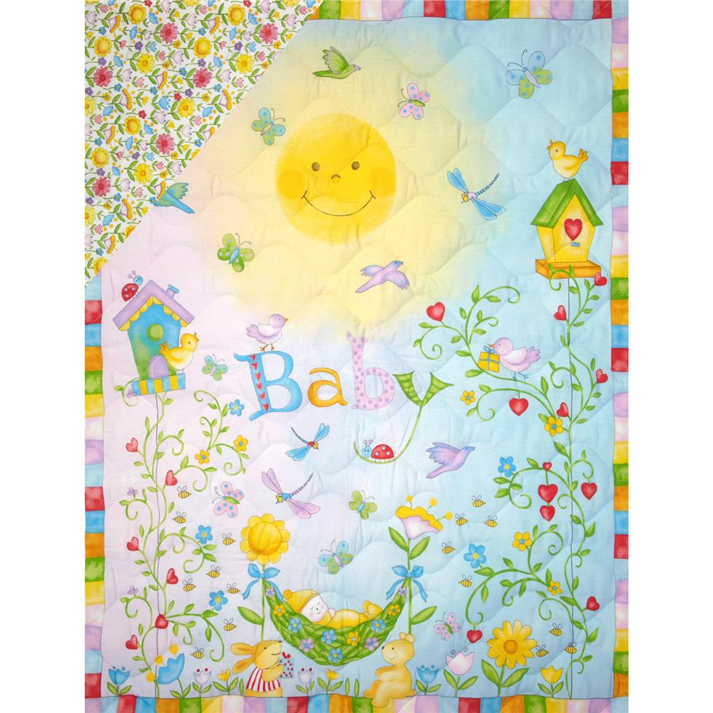 Garden Baby Double-Sided Quilted Panel Multi