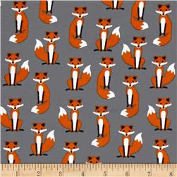 Kaufman Laguna Stretch Jersey Knit Fabulous Foxes Grey
