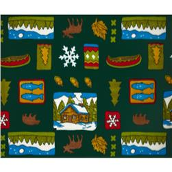 Printed Fleece Northwoods Patch Multi/Hunter
