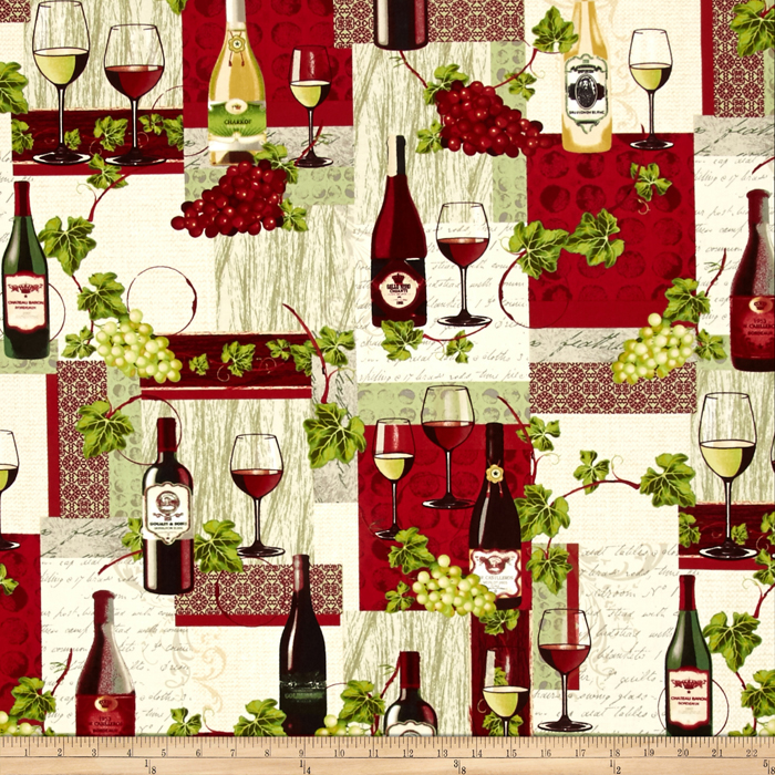 Image of Wine Country Wine Bottle Patchwork Fabric