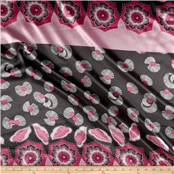 Designer Satin Fan Blooms Engineered Border Pink/Black