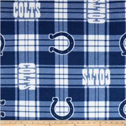 NFL Fleece Plaid Indianapolis Colts Blue Fabric