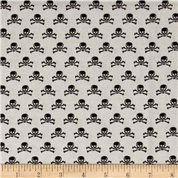 Riley Blake Happy Haunting Skull Gray