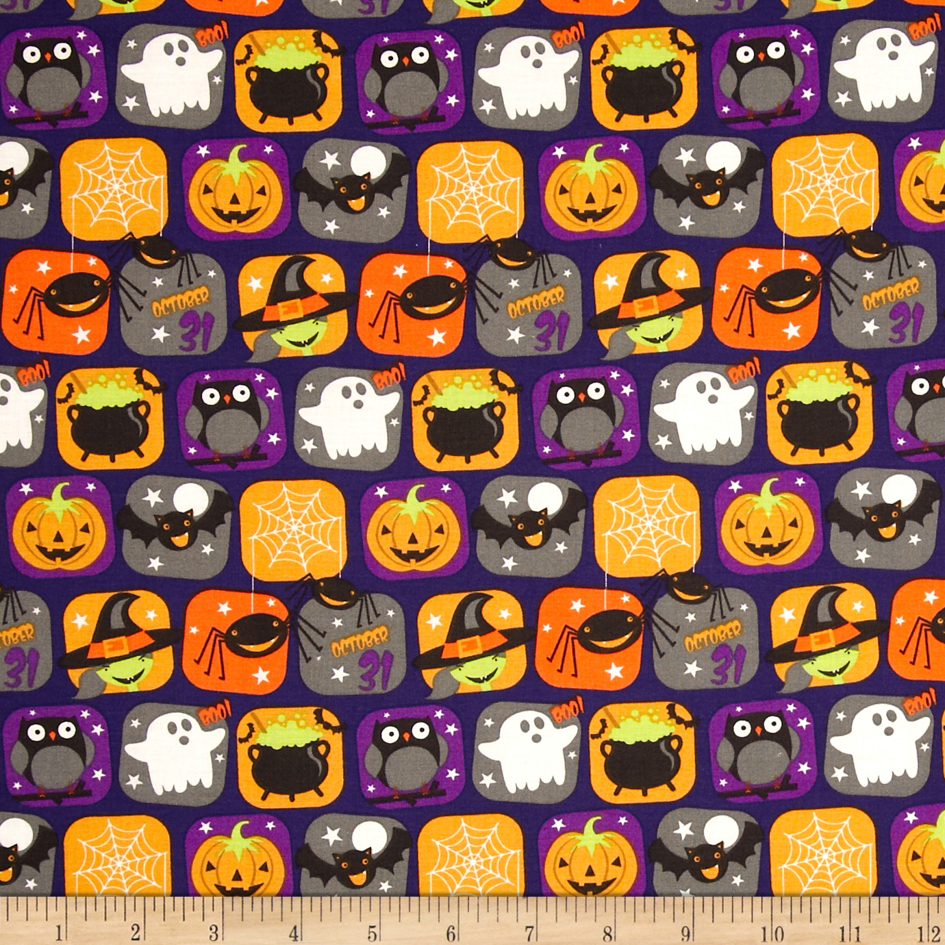 Horror Scope Icons Purple Fabric By The Yard by Santee in USA
