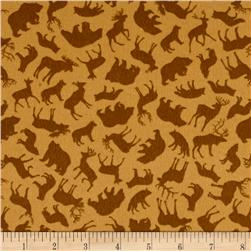 Kanvas North by Northwest Flannel Forest Animals Tan