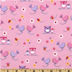 Comfy Flannel Kiss Birds Pink