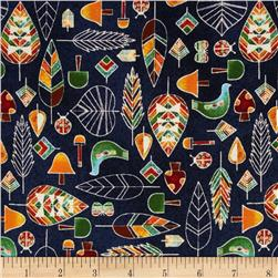 Kokka Birds and Leaves Navy