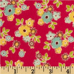 Riley Blake Sidewalks Flannel Small Floral Red