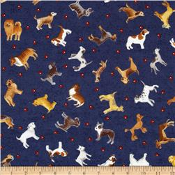 Dog Park Medium Toss Dogs Blue Fabric