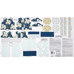 Riley Blake Wiltshire Daisy Panel Blue Fabric